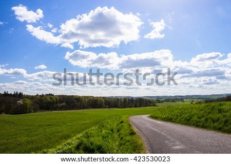 Beautiful fields and meadows of Jutland, Denmark