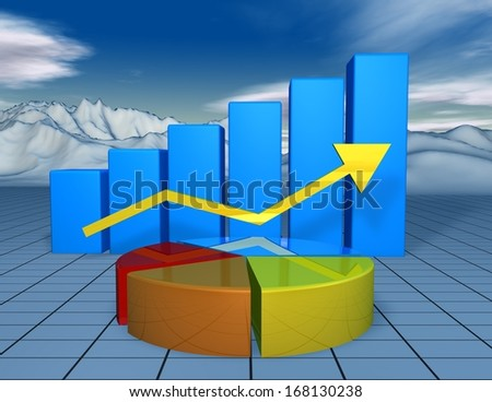 beautiful financial 3d background with colorful charts and landscape with blue sky