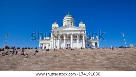 Beautiful Finnish capital Helsinki summer skyline view with saint nicholas cathedral - stock photo
