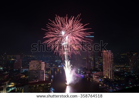 Beautiful firework display for celebration on  skyline city  in