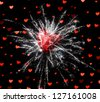 Beautiful firework with red heart. Explosion of passion - stock photo
