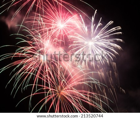 Beautiful fireworks - stock photo