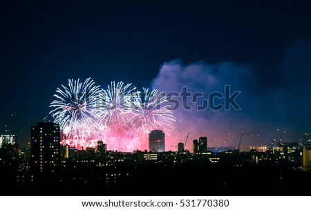 Beautiful fireworks above London. New Years Eve, view from Greenwich Point Hill