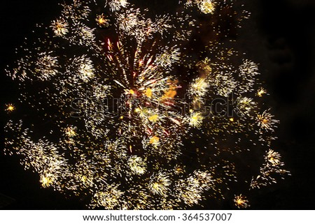 beautiful fireworks over night sky