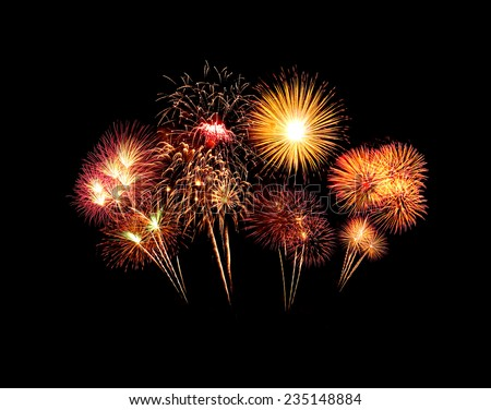 beautiful fireworks over sky at the night - stock photo