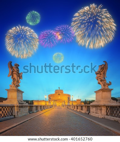 Beautiful fireworks under Castle of the Holy Angel, Castel Sant'angelo and Bridge of the Holy Angel, Ponte Sant Angelo Rome, Italy. - stock photo