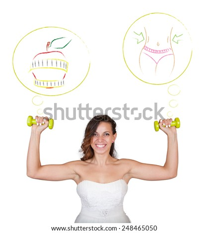 Beautiful fitness model bride wearing wedding stock photo for Losing weight for wedding dress