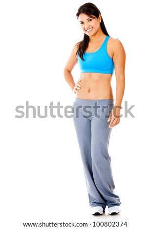 Beautiful fitness woman standing - isolated over a white background - stock photo