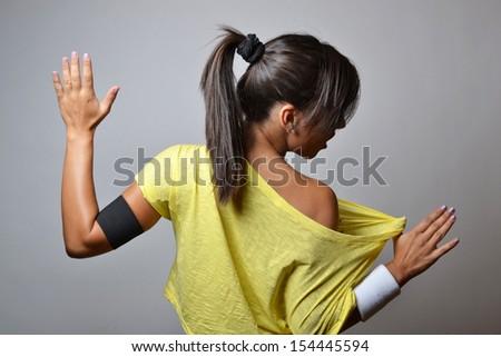 beautiful fitness woman, studio shot - stock photo