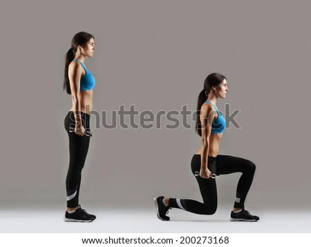 beautiful fitness woman working out, studio shot - stock photo