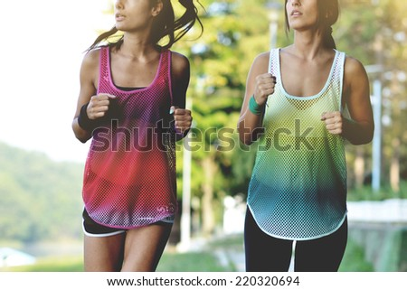 beautiful fitness women jogging, outdoor shot - stock photo