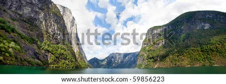 beautiful fjord in norway with panorama view of mountains, woods and ocean