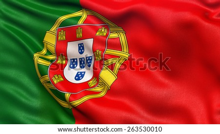 Beautiful flag of Portugal waving in the wind - stock photo