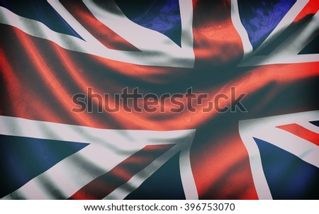 Beautiful flag of the UK waving in the wind - stock photo