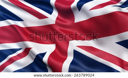 Beautiful flag of the United Kingdom waving in the wind - stock photo