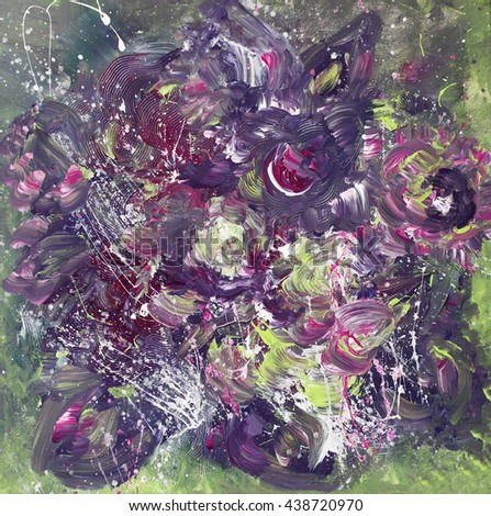 Beautiful floral abstract painting, violet and green colors