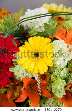 Beautiful floral arrangement with bright colors. - stock photo