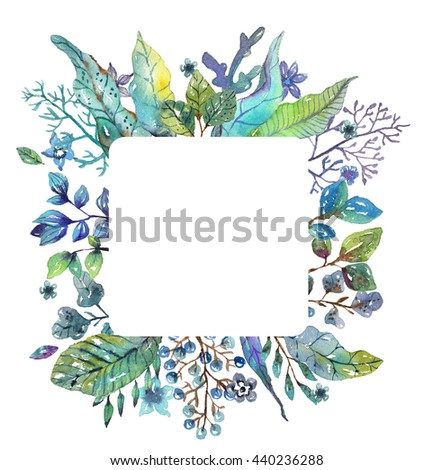 Beautiful floral background for holiday design, watercolor illustration - stock photo