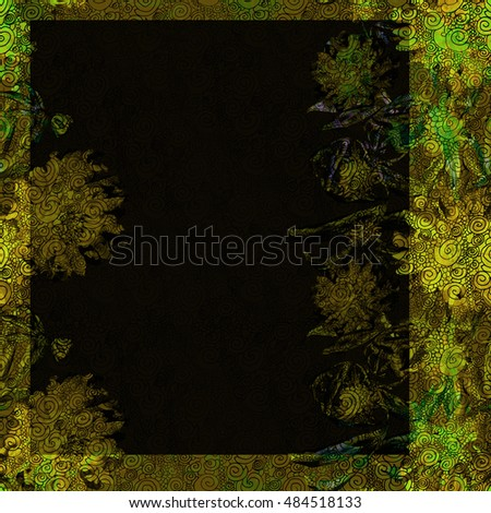Beautiful floral card. From a nature blooming peonies branch on a green and black background