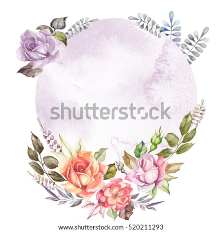 beautiful floral card with watercolor circle