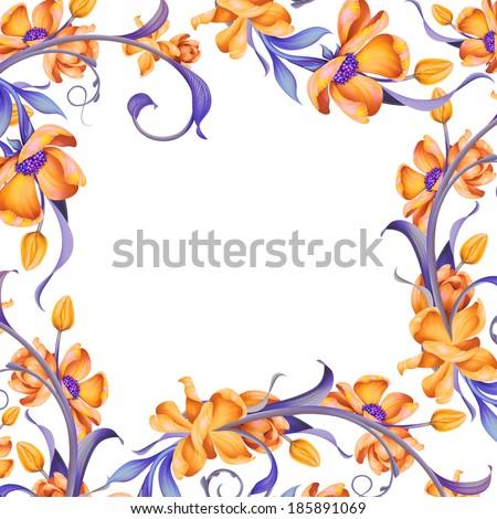 Beautiful Floral Frame Decorative Page Border Stock Illustration