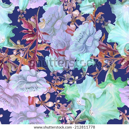 Beautiful Floral seamless pattern .Petunia and Marigold Flowers . Watercolor  - stock photo