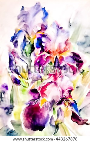 Beautiful flower abstract iris with digital graphics- bright and colorful in cold tones. Watercolor on textured  paper - hand illustration. - stock photo
