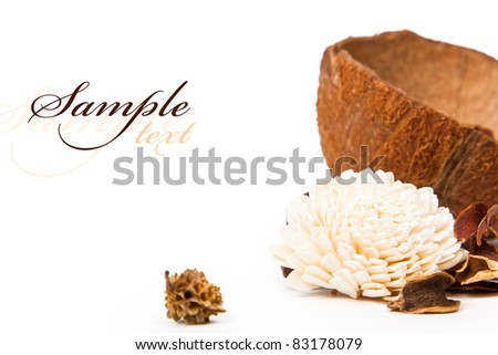 Beautiful flower and coconut with space for text on the subject of aromatherapy and SPA - stock photo