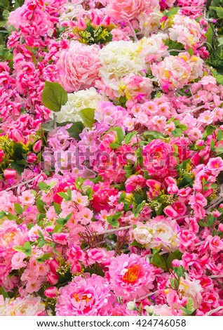 Beautiful flower background. Summer flowers bouquet. Spring flower blossom decoration. Natural flora colorful flowers. Botanical closeup flora backdrop. Assorted flowers - stock photo