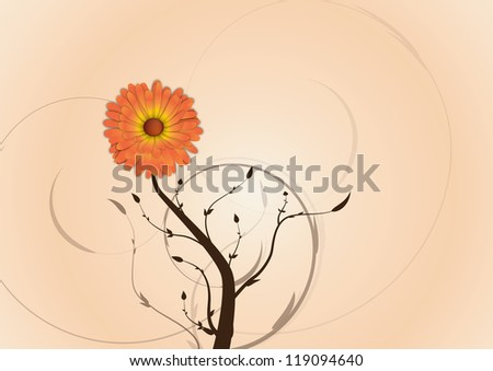Beautiful flower background with branches and leaf shapes