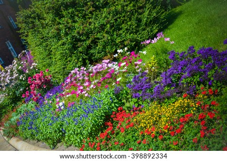 beautiful flower bed with flowers in the garden Wawel Royal Castle. Krakow. Poland. landscape design