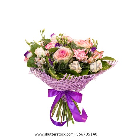 Beautiful flower bouquet isolated on white background - stock photo