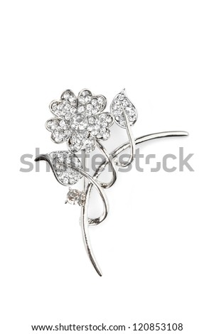 Beautiful flower brooch, isolated on white - stock photo