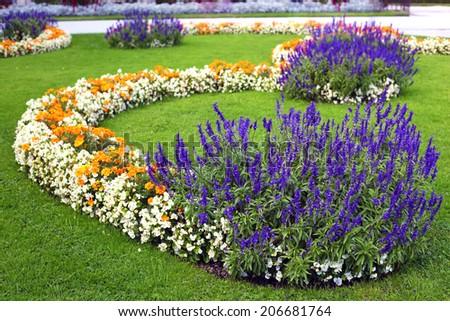 Beautiful flower garden background in Vienna city - stock photo
