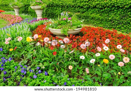 Beautiful flower gardens. - stock photo