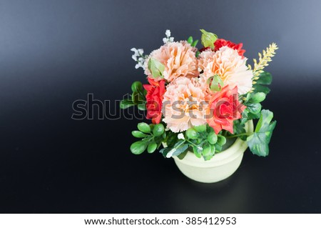 beautiful flower in a pot on dark background