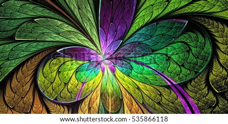 Beautiful flower pattern in stained-glass window style. Purple and green palette. You can use it for invitations, notebook covers, phone cases, postcards, cards, wallpapers and so on.