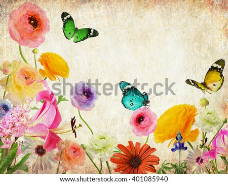 Beautiful flowers and butterflies.Textured old paper background. Nature abstract background - stock photo