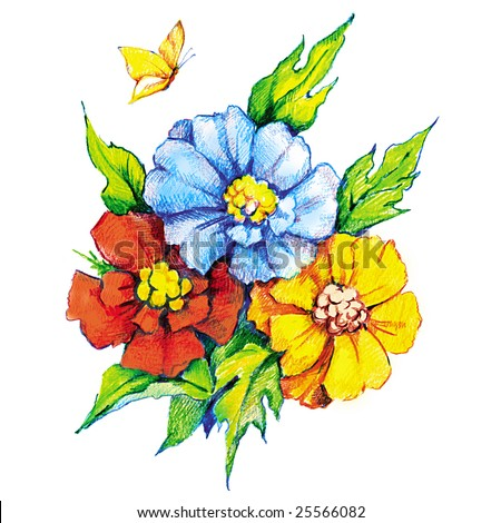 Beautiful flowers and butterfly colored pencil drawing by hand