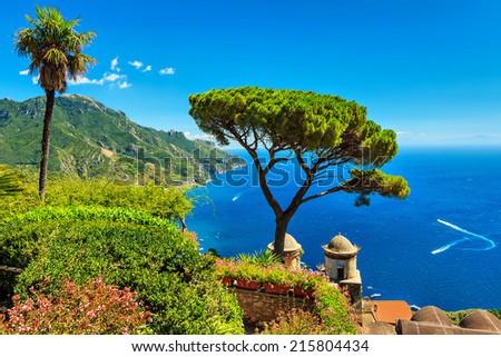 Beautiful flowers and wonderful garden terrace of Villa Rufolo,Ravello,Amalfi coast,Italy,Europe - stock photo