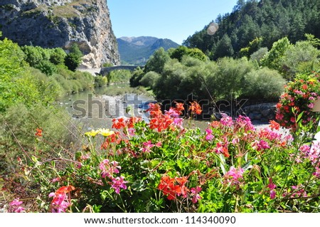 Beautiful flowers in hanging basket with a small river background in a small town in the south of Italy