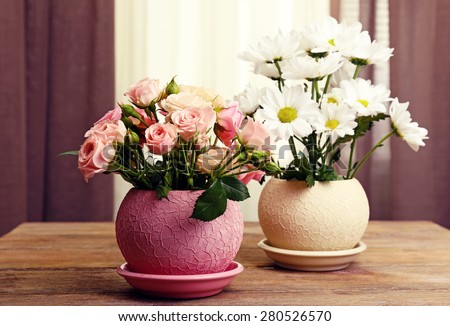 Beautiful flowers in pots on fabric background - stock photo