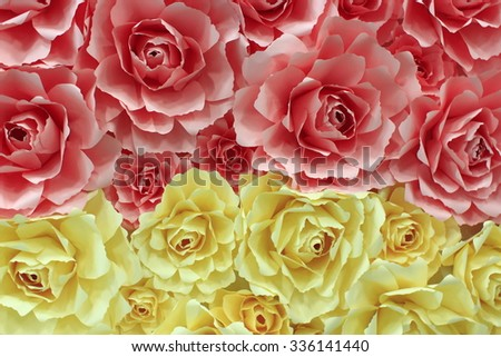 beautiful flowers of roses made from paper - stock photo