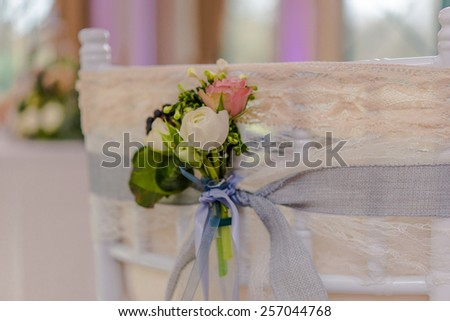 Beautiful flowers on table in wedding day - stock photo