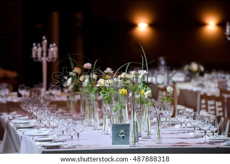 Beautiful flowers on table in wedding day.Wedding table setting