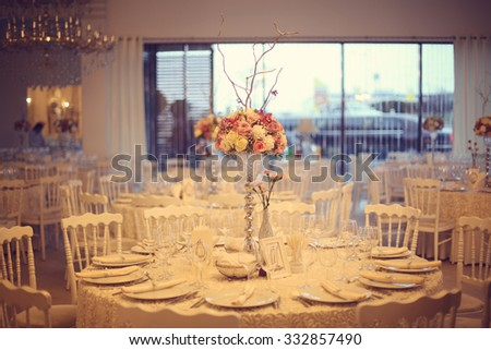 Beautiful flowers on wedding table - stock photo