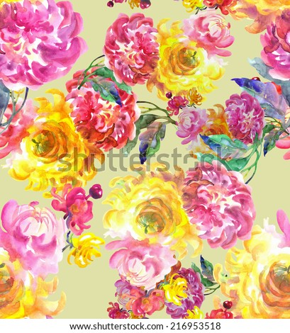 Beautiful flowers seamless pattern with ?hrysanthemum .Watercolor hand painting illustration. - stock photo