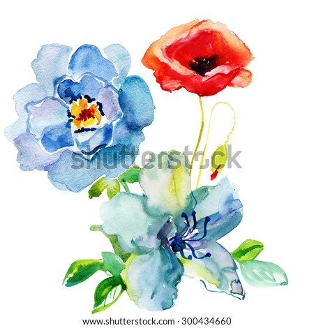 Beautiful  flowers, Watercolor painting - stock photo