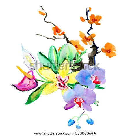 Beautiful flowers, Watercolor painting - stock photo