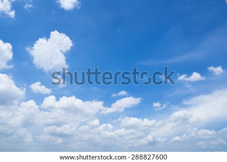 beautiful fluffy cloud and blue sky